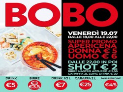 19/7 APERICENA DONNA € 5 - UOMO € 6 - BOBO CHECK POINT