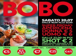 20/7 APERICENA DONNA € 5 - UOMO € 6 - BOBO CHECK POINT