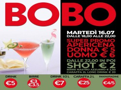 16/7 APERICENA DONNA €5 - UOMO €6 - BOBO CHECK POINT