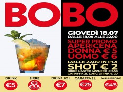 18/7 APERICENA DONNA €5 - UOMO €6 - BOBO CHECK POINT