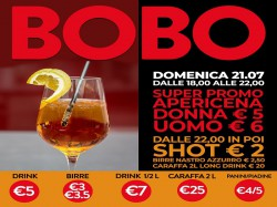 21/7 APERICENA DONNA € 5 - UOMO € 6 - BOBO CHECK POINT